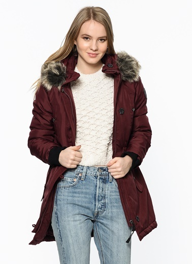 Only Kapüşonlu Parka Bordo